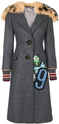 Miu Miu patch embellished shearling collar coat