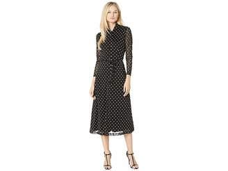 Anne Klein Printed Mesh Long Sleeve Button Down Dress