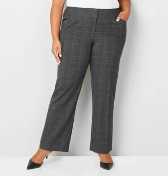 Avenue Bi-Stretch Wide Waist Grey Plaid Trouser Pant