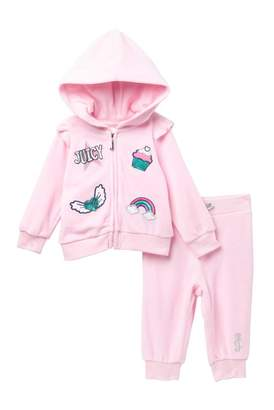 9f936f487 Juicy Couture Pink Velour Graphic Hoodie & Pants Set (Baby Girls)