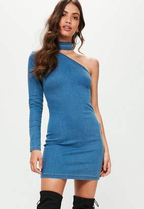 Missguided Blue Choker Detail One Sleeve Denim Dress