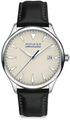 BOLD Heritage Calendoplan Stainless Steel & Leather Strap Watch