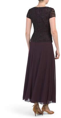 Pisarro Nights Cap Sleeve Beaded Top Gown