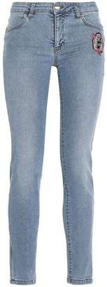 Versace Appliqued Mid-rise Skinny Jeans