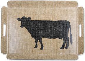 Simrin Farmyard Large Rectangular Cow Tray