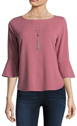 BY AND BY by&by 3/4 Sleeve Boat Neck Woven Blouse-Juniors