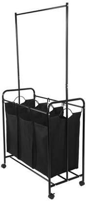 Yosoo YOSOO 3 Durable Detachable Bags Mobile Laundry Sorting Trolley Cart with Clothes Rod Black