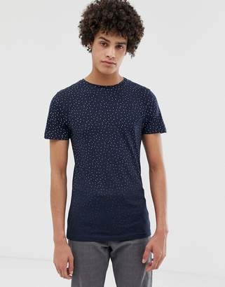 Bellfield T-Shirt In Triangle Print With Raw Edges