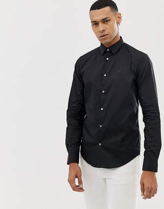 Emporio Armani slim fit logo poplin shirt in black
