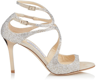 16f555d59 Jimmy Choo IVETTE Nude Suede Sandals with Hotfixed Crystals