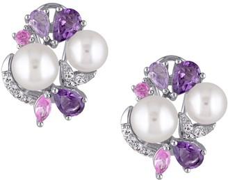 Sterling Multi-Gemstone & Cultured Pearl Cluster Earrings