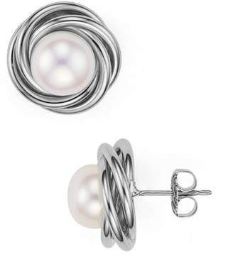 Bloomingdale's Sterling Silver and Cultured Freshwater Pearl Knot Stud Earrings - 100% Exclusive