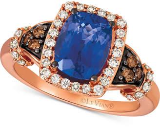 LeVian Le Vian Blueberry Tanzanite® (2 ct. t.w.), Nude DiamondsTM (1/3 ct. t.w.) & Chocolate Diamonds® (1/8 ct. t.w.) Ring Set in 14k Rose Gold