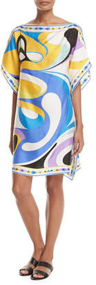 Emilio Pucci Maschere Short-Sleeve Caftan Coverup, Blue Pattern $850 thestylecure.com