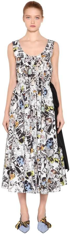 Comic Printed Cotton Poplin Dress