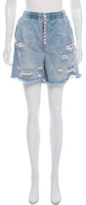Alexander Wang Denim x High-Rise Distressed Denim Shorts