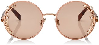 Jimmy Choo GEMA Nude Round Shaped Metal Sunglasses with Swarovski Crystals and Pearls