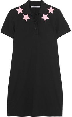 Givenchy - Appliquéd Cotton-piqué Mini Dress - Black $680 thestylecure.com