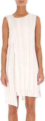 Neiman Marcus Atlein Sleeveless Asymmetric Ribbed Short Dress