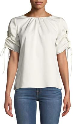 Tahari ASL Thea Drawstring Short-Sleeve Blouse White