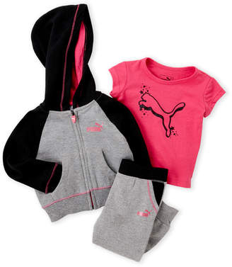 Puma Infant Girls) 3-Piece Zip Hoodie & Sweatpants Set
