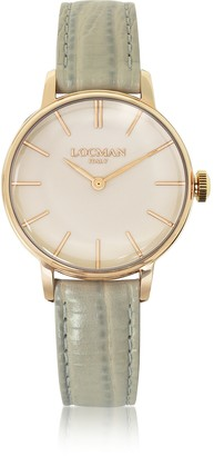 Locman 1960 Rose Gold PVD Stainless Steel Women's Watch w/Light Grey Python Embossed Leather Strap