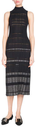 Proenza Schouler Turtleneck Sleeveless Striped Ribbed Knit Midi Dress