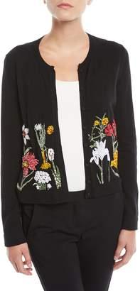 Oscar de la Renta Crewneck Button-Front Floral-Embellished Wool Cardigan