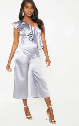 PrettyLittleThing Petite Silver Satin Asymmetric Frill Detail Jumpsuit