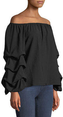 P. Luca Off-The-Shoulder Ruched Balloon Sleeve Blouse