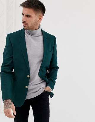 Asos Design DESIGN skinny blazer in dark green with gold buttons