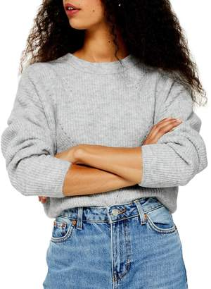 Topshop PETITE Long-Sleeve Cropped Sweater