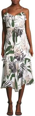 Milly Silk Sleeveless Tropical-Print Dress