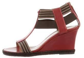 Fendi Logo T-Strap Wedges