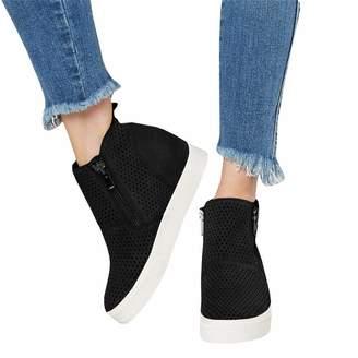 78f5547bb378 PRETTYHOMEL Women s Platform Sneakers Hidden Wedges Side Zipper Faux Suede  Perforated Ankle Booties(-38