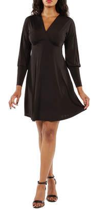 24/7 Comfort Apparel Knee Length Empire Waist Dress