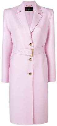 Versace buttoned belted coat