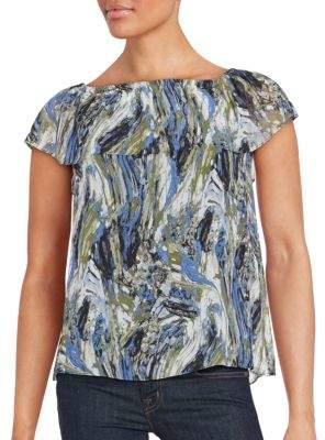 Kensie Printed Short Sleeve Top
