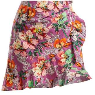 Isabel Marant Mouna Floral Print Ruffle Trimmed Mini Skirt - Womens - Purple Multi