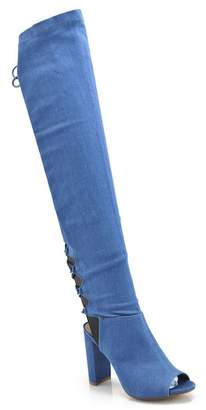 Elegant Footwear Gala Open Toe Over-the-Knee Denim Boot