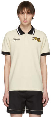 Kenzo Beige Jumping Tiger Fitted Polo