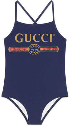 Gucci One-Piece Logo Swimsuit, Size 4-10