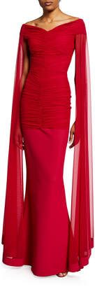 La Petite Robe Cape-Back Ruched Gown