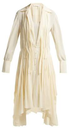 Chloé Draped Silk Crepe De Chine Midi Dress - Womens - Beige