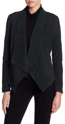 Tahari Suede Drape Front Jacket
