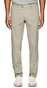 Hiltl Men's Stretch-Cotton Flat-Front Trousers-Beige, Tan Size 42