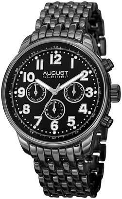 August Steiner Mens Black Strap Watch-As-8147bk