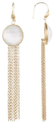 Rivka Friedman White Cat's Eye Fringe Dangle Earrings