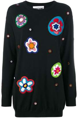 Moschino floral patch knit dress