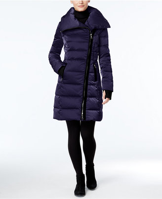 Vera Wang Velvet-Trim Asymmetrical Down Puffer Coat $398 thestylecure.com